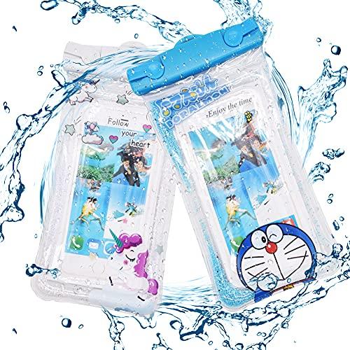 ALHX 2 Unidades Bolsa Estanca Móvil Universal, Bolsa Impermeable Transparente, Funda Bolsa Móvil Impermeable Universal para Xiaomi iPhone Samsung Galaxy Huawei Smartphones Monedas Pasaporte