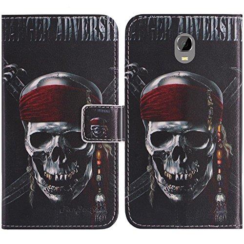 TienJueShi Totenkopf Flip Book-Style Brief Leder Tasche Schutz Hulle Handy Hülle Abdeckung Fall Wallet Cover Etui Skin Fur Oukitel K6000 Plus 5.5 inch