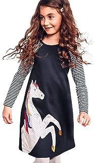 Kids Girls Dress Cotton Long Sleeve Striped Knee-Length Horse Pattern Princess Party Dress Spring Autumn Clothes