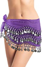 Plus Size Belly Dancing Hip Scarf - Dark Purple/Silver