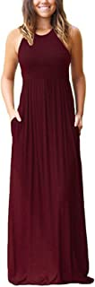 WOZNLOYE Summer Women Casual Round Neck Sleeveless Beach Maxi Dress with Pockets Fashion Solid Color Pleated Sundresses Long Dresses of Cocktail Party Club