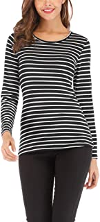 Women's Casual Long Sleeve Striped T-Shirt Slim Fit Tops Blouses