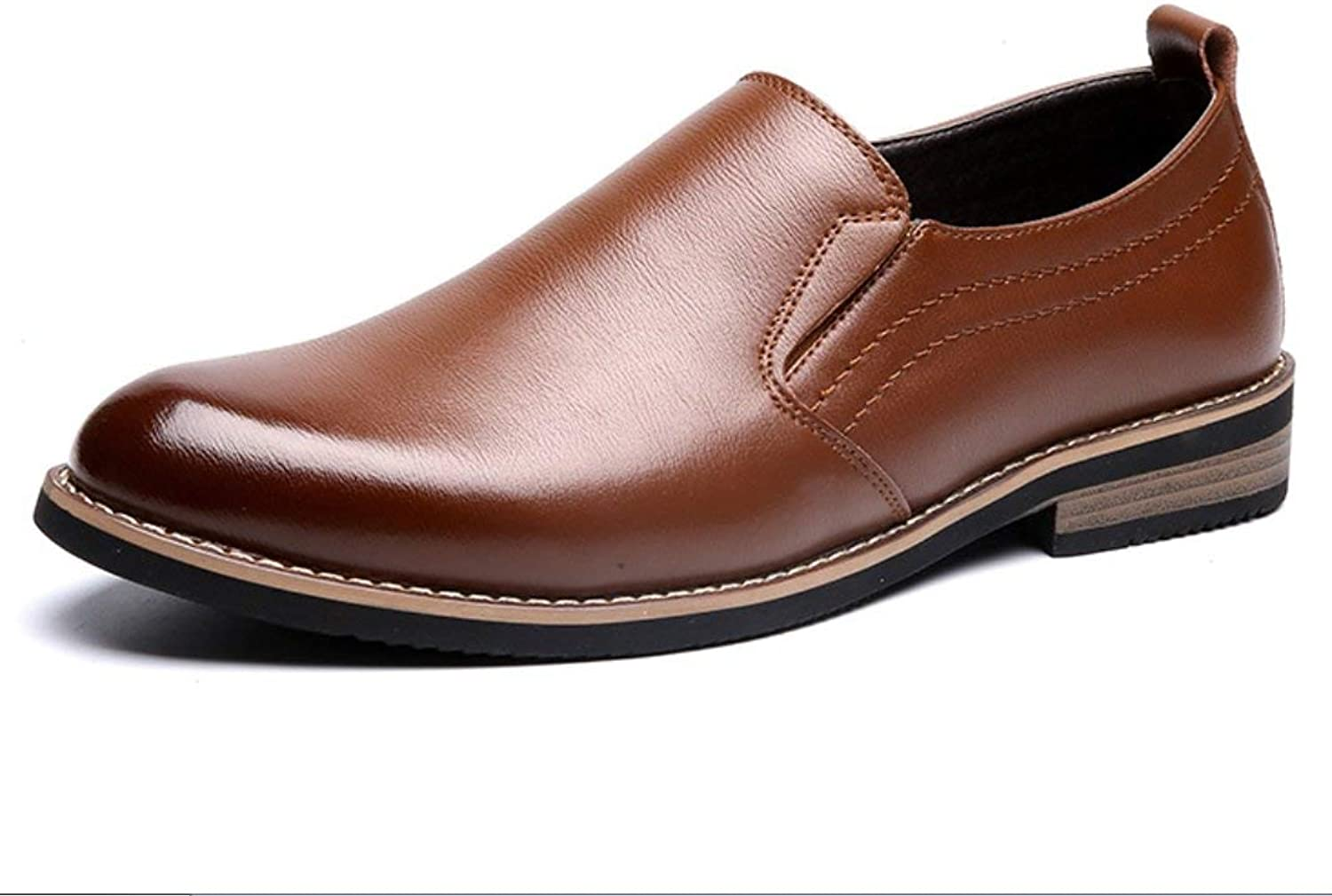 MON5F HOME Men's Leather shoes Dress Business Casual shoes Fashion England Men's shoes Leather shoes (color   Brown, Size   40)