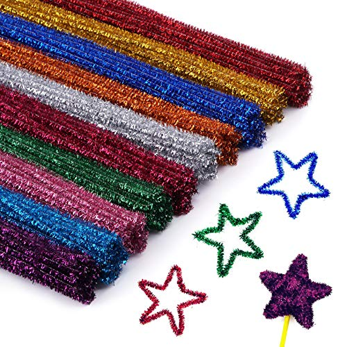 Cuttte 300pcs 10 Colors Pipe Cleaners, DIY Art Craft Decorations Chenille Stems, Assorted Colors, (6 mm x 12 inch)