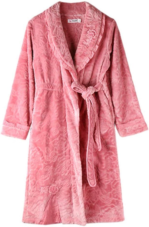NAN Liang Nightgown Cotton Padded Warm Pajamas Plus Long Bathrobe Bathrobes Autumn and Winter Home Service Soft (Size   XXL)
