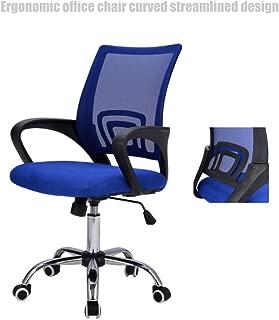Modern Mid Back Office Chair Mesh Seats Ergonomic Back Supports Soft Sponge Upholstery 360 Degree Swivel Home Office Desk Task - Blue # 1508