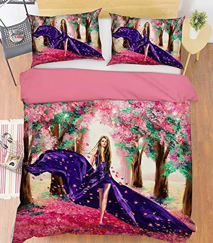 AJ WALLPAPER 3D Girl Pink Background 3915 Bedding Pillowcases Quilt Duvet Cover Set Single Queen King | 3D Photo Bedding UK Angelia (Super King:225 * 260cm(±4cm))