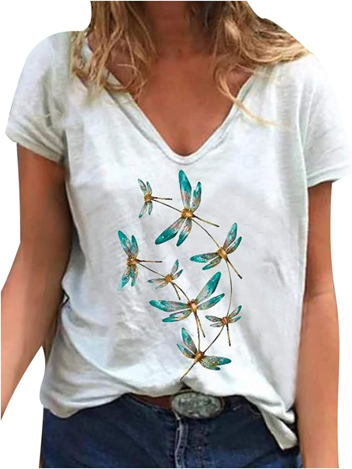Graphic T Shirts for Women Summer Dragonfly Print Loose Casual Tee Shirts Cute Soft Loose V Neck Tops Valentine Gift Tops