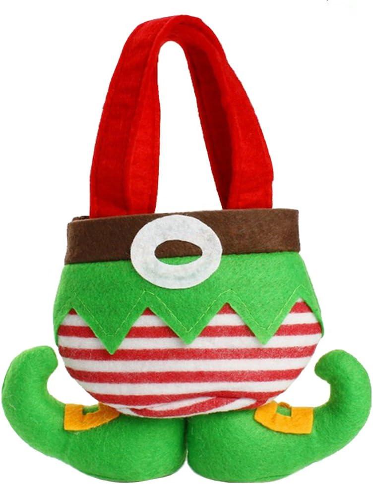 5pcs Christmas Party Gift Santa Pants Elf Spirit Candy Gift Bag Sack Stocking US