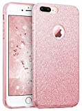 Coovertify Funda Purpurina Brillante Rosa iPhone 7 Plus, Carcasa Resistente de Gel Silicona con Brillo para Apple iPhone 7 Plus (5,5')