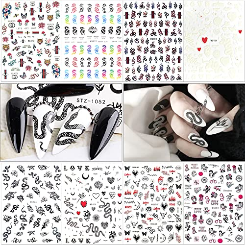 8 Sheets Snake Designer Nail Stickers for Nail Art, FasionMior Nail Decals with Patterns Like Dragon Snake Flowers Love Rose Butterfly Nail Art Stickers Adhesive Halloween Nail Art for Women Girls