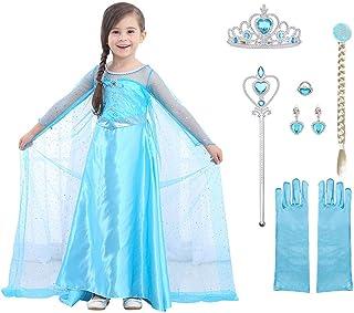 URAQT Mädchen Prinzessin ELSA Kleid Kostüm Set aus Diadem, Handschuhe, Zauberstab (Größe 110 für 3-4 Jahre, Kleid ELSA + 6...