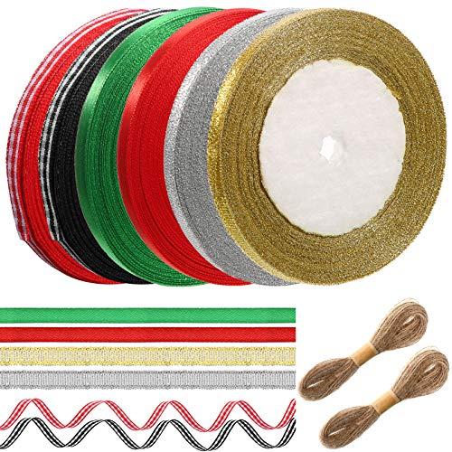 6 Rolls 150 Yards Gingham Ribbon Set 2 Buffalo Plaid Edge Ribbon 2 Metallic Glitter Ribbon 2 Satin Ribbon, 2 Rolls Twine Rope, Taffeta Plaid Check Ribbon for Hair Accessories Crafts Christmas Wrapping