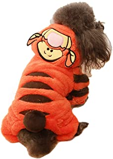 Tiger Dog Costume Funny Halloween Dog Costume Cute Dog Cosplay Jumpsuit Fashion Dress for Puppy Small Medium Large Dogs Special Events Photo Props Accessories