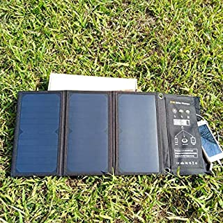 KerYoung 21W Flodable Solar Charger with Daul USB Ports, Waterproof Solar Panels Charger for IphoneX/ 7/ 6s / Ipad /mini / Galaxy S7 / S6 / Edge / LG, Nexus, HTC, Digital Camera,Action camera and More