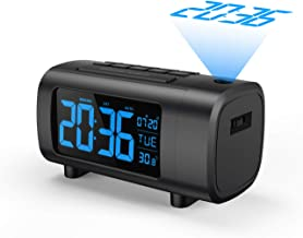 """Projection Alarm Clock, Mpow Digital Radio Alarm Clock with 3.9"""" Blue and White Digit, Adjustable Ceiling Sleep Timer, 12/24 Hour, Temperature Display, USB Charging, Desk Clocks for Bedroom and Office"""