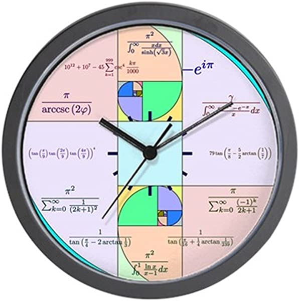 CafePress 黄金比例月数学时钟独特的装饰挂钟
