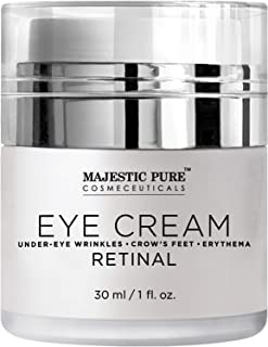 Under Eye Cream by Majestic Pure- Age Defying Retinal- Reduces the Appearances of Wrinkles, Dark Circles, Puffiness, Crow ...