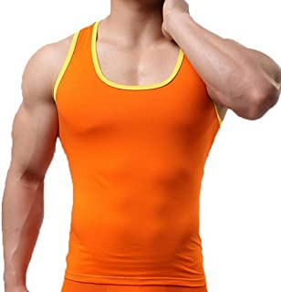 Xiang Ru Colorful Tight Sports Stretch Sleeveless Hurdle Cotton Waistcoat for Men