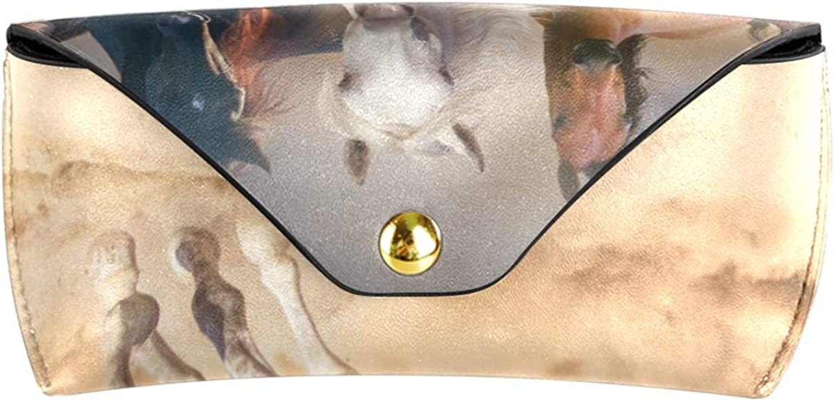 Multiuse Animal Running Horse Group Goggles Bag Portable PU Leather School Sunglasses Case Eyeglasses Pouch