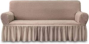NICEEC Sofa Slipcover Khaki Sofa Cover 1 Piece Easy Fitted Sofa Couch Cover Universal High Stretch Durable Furniture Protector with Skirt Country Style (3 Seater Khaki)
