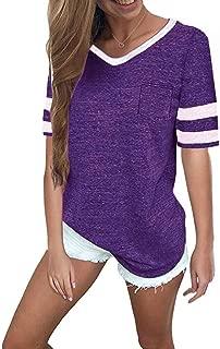 Womens Summer Tops Casual Short Sleeve T-Shirts