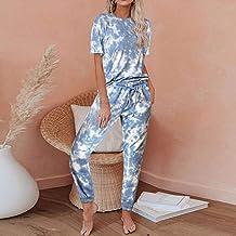 Dames Pyjama Set,Blauw Print Korte Mouw Lounge Wear Homewear Suit Loungewear Set Dames Slaap Nachtkleding Herfst Winter Ho...