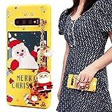 ZhuoFan Navidad Funda para Samsung Galaxy S7 Edge Cárcasa Silicona con Dibujos 3D Muñecas Navidad Diseño Ultrafina Suave TPU Antigolpes de Protector Piel Pulsera Case para Samsung S7 Edge, Amarillo
