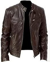 jin&Co Mens Leather Jacket Long Sleeve Zipper Multi-Pocket Thin Casual Moto Biker Jacket Cool Bomber Jacket Outercoat
