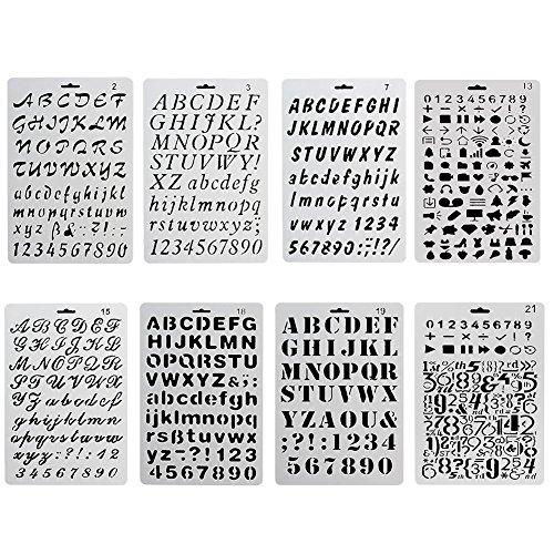 nectaroy cifra y Letter Stencil Abecedario Pintura reutilizable suave mayúsculas minúscula carattere para scrapbooking tarjeta de cumpleaños Decoración de pared 8PIEZAS