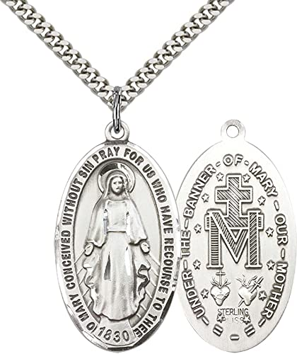 F A Dumont Sterling Silver Miraculous Pendant with 24″ Stainless Steel Heavy Curb Chain.