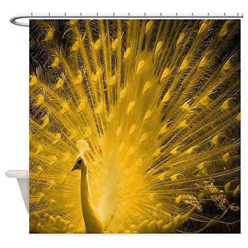 "CafePress Albino Peacock Gold Decorative Fabric Shower Curtain (69""x70"")"