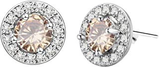 Round Cut Cubic Zirconia CZ 18K White Gold Plated Lady Girl Women Stud Earrings