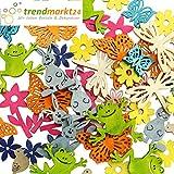 Streuteile-Set Ostern / Frühling ✓ 50 Streuteile Holz-Figuren in 10 Farben ✓ 10 Motive ca. 2 - 4 cm