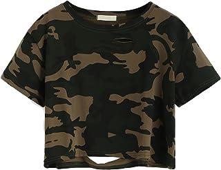 SweatyRocks Women`s Short Sleeve Distressed Crop T-Shirt Summer Tops