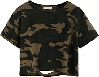 Tshirt Camo Print Distressed Crop T-Shirt