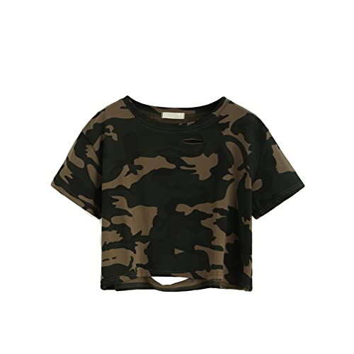 e3b54be2aa24ea SweatyRocks Tshirt Camo Print Distressed Crop T-Shirt