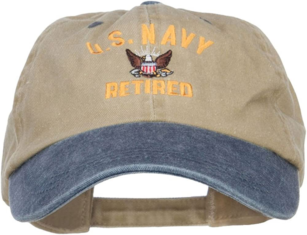 e4Hats.com US Oakland Mall Navy Retired Military Embroidered Tone Cap Two Excellence