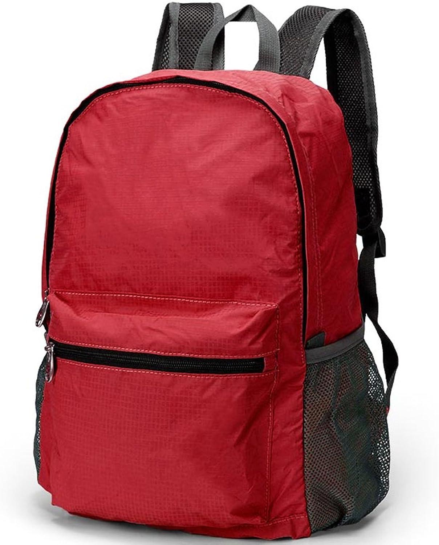 DFGdf Outdoor Travel Backpack Folding Male and Female Shoulder Waterproof Folding Bag Mountaineering Bag (color   Red)