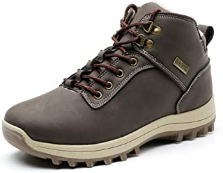 HSINYA Mens Fur Lined Leather Snow Boots Non Slip Water Resistant Outdoor Hiking Shoes Backpacking Warm Booties
