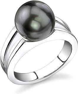 THE PEARL SOURCE 10-11mm Genuine Black Tahitian South Sea Cultured Pearl Kasandra Ring for Women