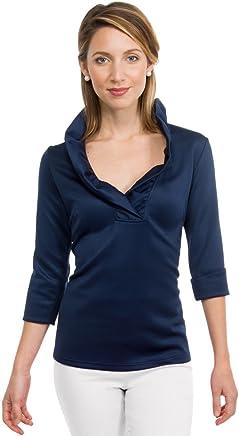 879301503e2 Gretchen Scott Ruffneck Jersey Top- 3 4 Sleeve- Navy