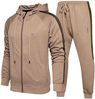 Mens Hooded Tracksuit Athletic Full Zip Jacket Jogging Sweatsuit Pants with Pockets