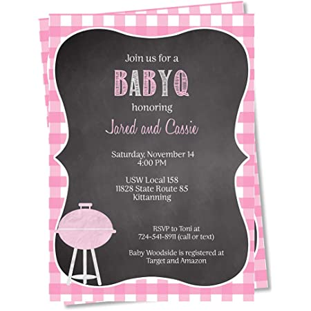 Cookout Diaper Raffle Ticket Co-ed Baby-Q Custom Couples Thank You Chalkboard PartyKit Baby Boy Baby Shower Invitation kit BBQ
