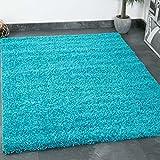 VIMODA Prime Tapis Shaggy Couleur Shaggy Poils Tapis Moderne pour Salon Chambre, Dimensions: 150 cm Carré - Turquois, 80x150 cm