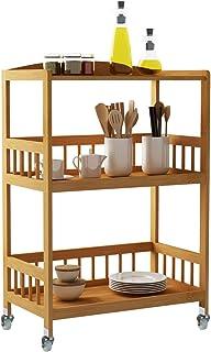 sogesfurniture Carro de Servicio 3 estantes de Bambú, Trolley de Cocina, Estantería de Almacenamiento con Ruedas para Hotel, Baño, Restaurante, KS-ZC05-BH KS-ZC05-BH