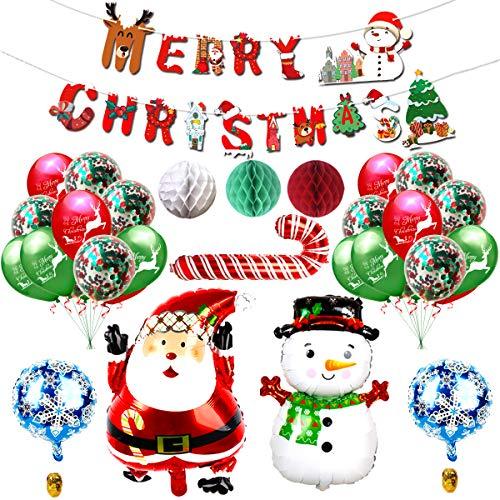 YWQ 30PCS Kit Decorazioni per Feste Natalizie,Ornamenti di Natale, Natale Forniture per Feste,Kit di Palloncini Decorazioni Natalizie con Decorazioni Natalizie Perfetta per la Festa di Natale