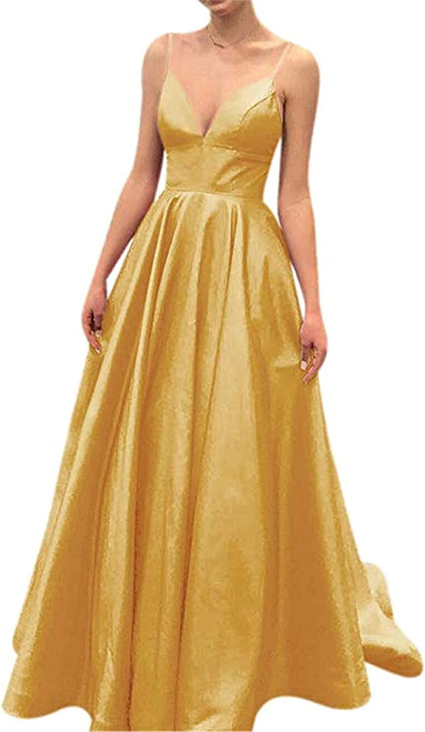QiJunGe V Neck Evening Party Gown A Line Spaghetti Strap Prom Dress with Pocket