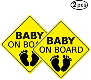 Baby ON Board Sticker Car Decals Safety Signs Self-Adhesive Easy to Install Waterproof 2pcs (Style B)