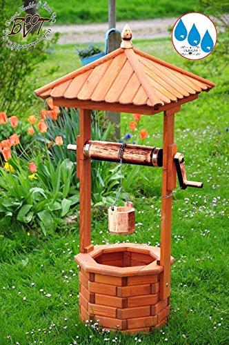 BTV Design-Brunnen, mit Kupfer-METALLIC, Designer Gartenbrunnen 130 cm, einstöckig Klassik MIT Rolle & Eimer EXP140-grau-OS, voll funktionstüchtig,schöne Details, HELLGRAU Metallkette Deko-Brunn
